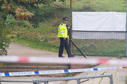 © Licensed to London News Pictures 19/09/2021. <br /> Kidbrooke, UK, A large police cordon is in place around Cator Park at Kidbrooke Village in Kidbrooke, South East London today after the body of a woman was found near a community centre last night. A man from Lewisham has been arrested on suspicion of murder. Photo credit:Grant Falvey/LNP