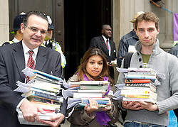 ©under licence to London News Pictures. 18/05/11. London, UK  . Campaigners from Lewisham, Camden & Swindon assemble to protest against the cuts at Department of Culture, Media and Sport, and then delivered a petition to 10 Downing Street. Pictures shows Meric Apak, Tulip Siddiq and Toby Sargent from Kentish Town Library in Camden, with books from the temporary free library. Outside the Department of Culture, Media and Sport. Please see special instructions for usage rates. Photo credit should read TONY NANDI/LNP