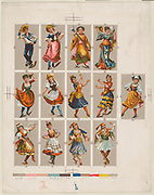 Printing proof of trading cards, from National Dances issued by Kinney Bros.