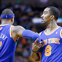 26 March 2013: New York Knicks small forward Carmelo Anthony (7) is congratulated by New York Knicks shooting guard J.R. Smith (8) during the New York Knicks 100-85 victory over the Boston Celtics at the TD Garden, Boston, Massachusetts, USA.
