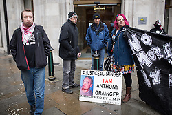 © Licensed to London News Pictures . 10/02/2014 . Manchester , UK . Protest outside Sunlight House in central Manchester - the offices of the CPS ( Crown Prosecution Service ) - this afternoon (10th February 2014) by a group campaigning following the police shooting of Anthony Grainger in Culcheth in Cheshire on 3rd March 2012 . This as GMP chief Sir Peter Fahy faces Health and Safety charges in relation to the shooting . Photo credit : Joel Goodman/LNP