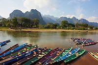 Laos, Environs de Vientiane, Vang Vieng, riviere Nam Song // Laos, Vientiane province, Vang Vieng, Nam song river