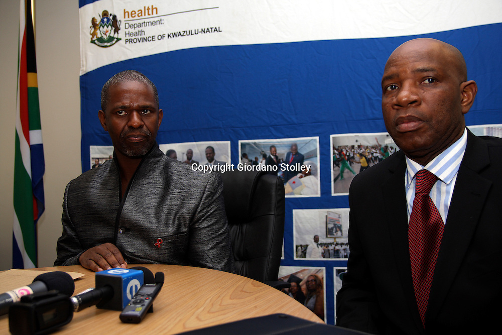 DURBAN - 29 January 2013 - KwaZulu-Natal's health MEC Dr Sibongiseni Maxwell Dhlomo (left) announces that his department may have a solution to save Durban's 103-year old McCord Hospital. Looking on is health spokesman Sam Mkhwanazi. Picture: Giordano Stolley/Allied Picture Press/APP
