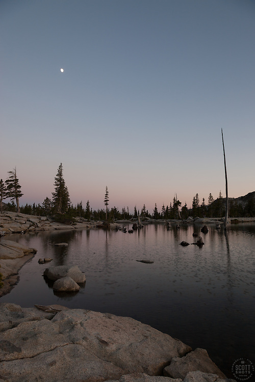 """""""Lake Aloha Sunset 4"""" - Photograph of a moon over Lake Aloha at sunset in the Tahoe Desolation Wilderness."""