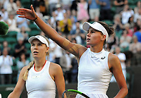 Tennis - 2019 Wimbledon Championships - Week One, Wednesday (Day Three)<br /> <br /> Women's singles, 2nd Round: Caroline Wozniacki (DEN) v Veronika Kudermetova (RUS)<br /> <br /> Veronika Kudermetova with Caroline after the match  on Court 1<br /> <br /> COLORSPORT/ANDREW COWIE