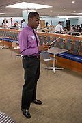 Purchase, NY – 31 October 2014. Raymond Uduba, from Saunders Trades and Technical High School, practicing his presentation. The Business Skills Olympics was founded by the African American Men of Westchester, is sponsored and facilitated by Morgan Stanley, and is open to high school teams in Westchester County.