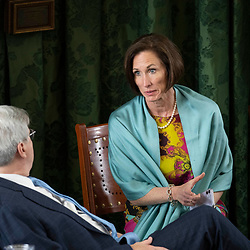 Texas Senate action on Tuesday, May 18, 2021 showing  Sen. Lois Kolkhorst, R-Brenham, taking with Dan Patrick