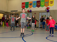 2nd grader Rock Londer jumps rope with his classmates from Elm Street School during the Jump Rope for Heart event Friday afternoon.  Londer raised $1,370.00 for the event with a school total at approximately $9,000.00 as of Friday afternoon for the American Heart Association.  (Karen Bobotas/for the Laconia Daily Sun)