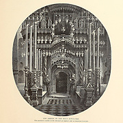 The Shrine Church of the Holy Sepulchre, Jerusalem from the book Picturesque Palestine, Sinai, and Egypt By  Colonel Wilson, Charles William, Sir, 1836-1905. Published in New York by D. Appleton and Company in 1881  with engravings in steel and wood from original Drawings by Harry Fenn and J. D. Woodward Volume 1
