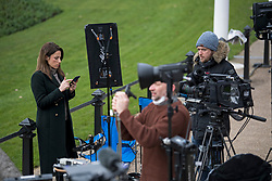 © Licensed to London News Pictures. 08/03/2021. London, UK. Media gather outside Buckingham Palace in London following the release of an interview with Prince Harry, Duke of Sussex and his wife Meghan, Duchess of Sussex. The two hour event, hosted by Oprah Winfrey, aired in the early hours of the morning in the UK. Photo credit: Ben Cawthra/LNP