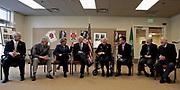 Gathered to celebrate the 100th birthday of former Gov. Al Rosellini in 2010, from left: U.S. Rep. Dave Reichert, Mike Lowry, Gov. Chris Gregoire, Dan Evans, Rosellini, Gary Locke, Booth Gardner and John Spellman. (Alan Berner / The Seattle Times, 2010)
