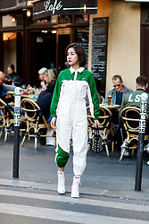 Street style, arriving at Off White spring summer 2019 ready-to-wear show, held at Passage Saint Pierre Amelot, in Paris, France, on September 27th, 2018. Photo by Marie-Paola Bertrand-Hillion/ABACAPRESS.COM