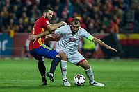 Spain's Nacho Fernandez Macedonia's Goran Pandev  during the match of European qualifying round between Spain and Macedonia at Nuevo Los Carmenes Stadium in Granada, Spain. November 12, 2016. (ALTERPHOTOS/Rodrigo Jimenez)