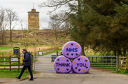 Large messages of support for the NHS are on display at the entrance to the Penicuik Estate which has had to close their car park due to the lockdown. In the background can be seen Knight's Law Tower which was built between 1748 and 1751.<br /> <br /> People are finding ways to cope with the lockdown in Midlothian.