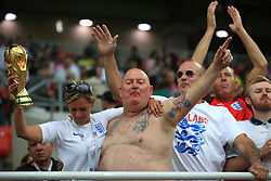 England fans show their support in the stands ahead of the FIFA World Cup 2018, round of 16 match at the Spartak Stadium, Moscow. PRESS ASSOCIATION Photo. Picture date: Tuesday July 3, 2018. See PA story WORLDCUP England. Photo credit should read: Adam Davy/PA Wire. RESTRICTIONS: Editorial use only. No commercial use. No use with any unofficial 3rd party logos. No manipulation of images. No video emulation