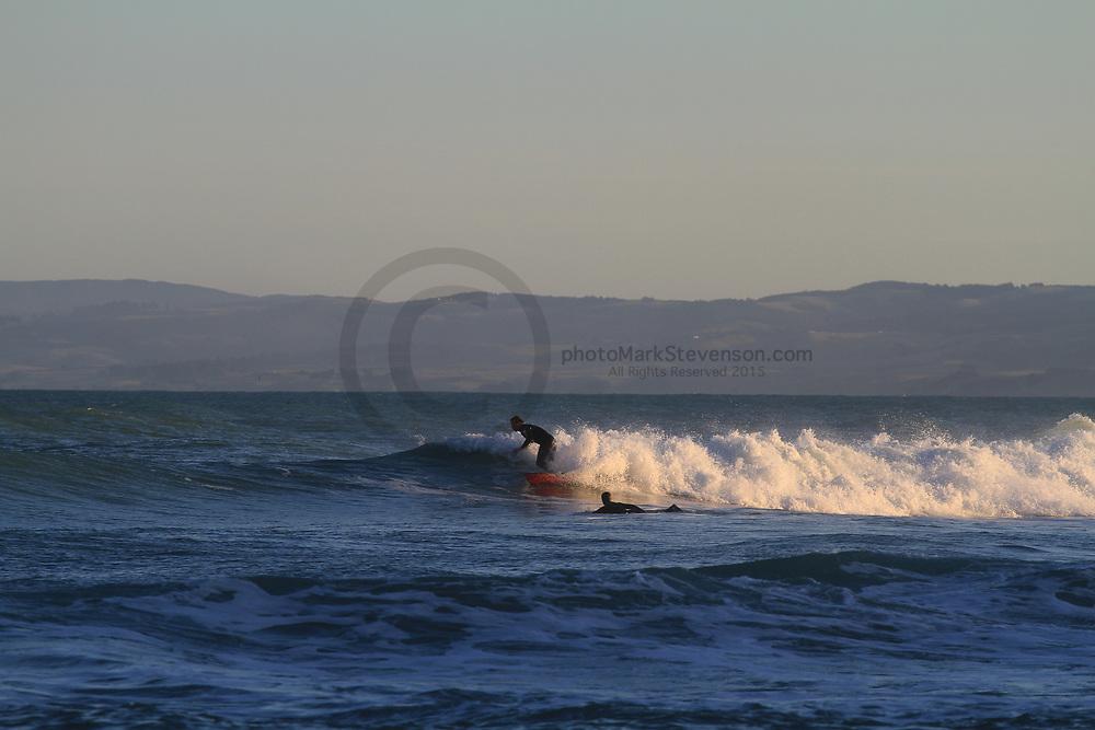 Surfing winter 2020 at Blackhead beach Dunedin NZ