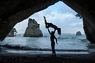 Oceania; New Zealand; Aotearoa; North Island, Coromandel, Cathedral Cove, body artist