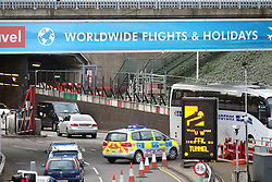 © Licensed to London News Pictures. 26/11/2015. London, UK. Emergency services at the entrance to the tunnel. . A group of Airport expansion activists cause traffic chaos by blocking off the inbound tunnel of Heathrow airport in London to protest against airport expansion.  Photo credit: Peter Macdiarmid/LNP