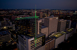 Aerial view of Methodist Hospital in Houston's Texas Medical Center at night.