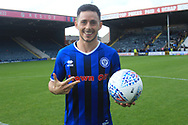 Hat Trick for Ian Henderson he gets the match ball during the EFL Sky Bet League 1 match between Rochdale and Gillingham at Spotland, Rochdale, England on 15 September 2018.