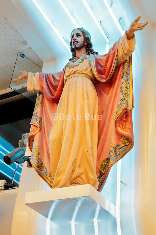 Statue of Jesus Christ at a souvenir shop in Lourdes, France