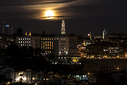 November 14, 2016 - Porto, Porto, Portugal - Supermoon rises over Portugal, Porto on November 14, 2016. The moon sets biggest, closest and brightest since 1948. The last supermoon was seen in 1948, when the moon reached its closed point to earth. According to a statement from NASA, the next time super moon will be this close will be on 25 November 2034. NASA described as 'an extra-supermoon' (Credit Image: © Dpi/NurPhoto via ZUMA Press)