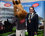 25/09/2018 Repro free: GG the Mascot  and Mayor of Galway Niall McNelis at the launch of Galway Racecourse  details of their new and exciting three-day October Festival that takes place over the Bank Holiday weekend, Saturday 27th, Sunday 28th and Monday 29th continuing racing and glamour into the Autumn.<br />   Each of the three race days offers something for all the family to enjoy, with a special theme attached to each day, together with fantastic horse racing, live music, delicious hospitality, entertainment and of course the meeting of old friends and new at Ballybrit.  <br /> Halloween Family Fun <br /> On Saturday 27th October come along with your children and grand children and enjoy the 'Spooktacular' Halloween themed family fun day with lots of entertainment including a fancy-dress competition, Halloween games and face painting to mention but a few!! All weekend children under 16 years of age have free admission. <br /> Race in Pink <br /> As part of this new October Festival and with-it being Breast Cancer Awareness month, Galway Racecourse have partnered with The National Breast Cancer Research Institute to host a dedicated fundraiser on Sunday 28th October called 'Race in Pink'.  <br /> <br /> Student Race Day in aid of the Voluntary Services Abroad <br /> Monday sees the return of our annual 'Student Race Day' in conjunction with the Voluntary Services Abroad (a medical aid charity run by the fourth-year medical students of NUI, Galway), and the NUIG Rugby Club.  Each year, this fundraising day for the student organisations raises a tremendous amount of money for their chosen projects including the VSA annual summer volunteer trip to Africa where they use the funds raised to help projects at the hospitals they visit. <br />  National hunt racing on Saturday kicks off at 2.05pm with racing Sunday and Monday off at 1.05pm. Adult admission on all three days is €15 with children under 16 years of age, free. For more information please check out www.galway
