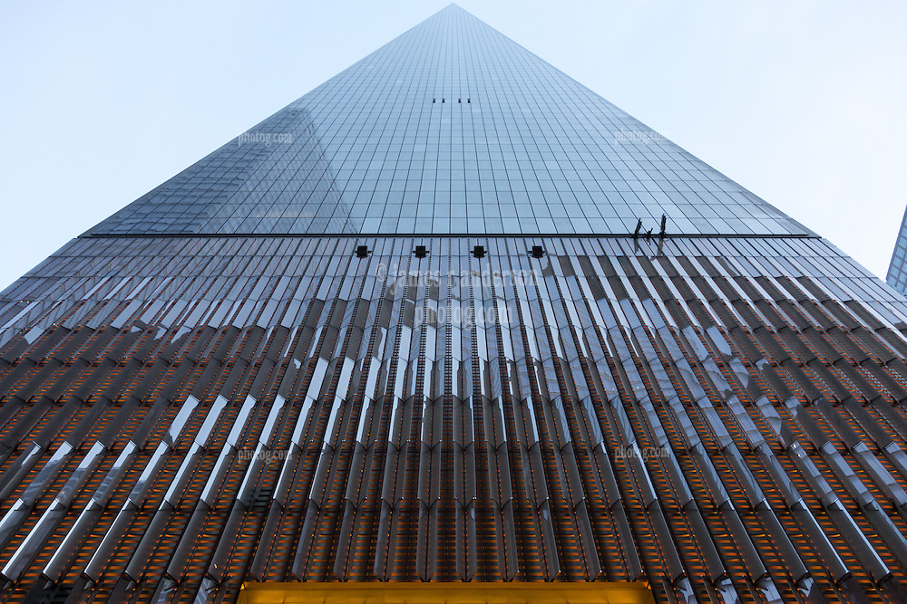 One World Trade Center North Façade at Dusk. View from Sidewalk below. 20 May 2015