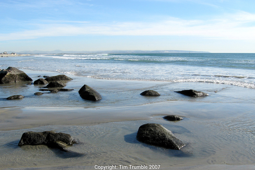 Black rocks on Beach in Southern California