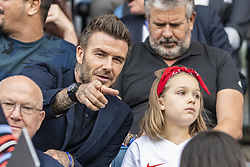 June 27, 2019 - Le Havre, França - LE HAVRE, SM - 27.06.2019: NORWAY VS ENGLAND - David Beckham and his daughter, Harper, before a match between England and Norway. World Cup Qualification Football. FIFA. Held at the Oceane Stadium in Le Havre, France  (Credit Image: © Richard Callis/Fotoarena via ZUMA Press)