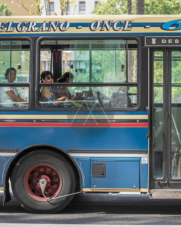Buenos Aires, Argentina - 28 January 2019: View of people in a local bus in Buenos Aires downtown, Argentina.