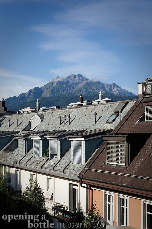 Mount Pilatus rises above Lucerne, Switzerland.
