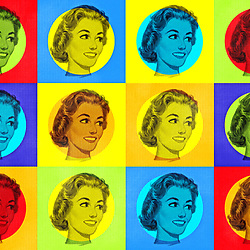 Mid Century Housewife Pop Art Repeat wome's face on multicoloured squares background