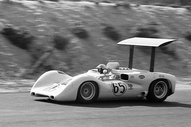 Phil Hill in Chaparral 2E during model's debut race, the 1966 Bridgehampton Can-Am.
