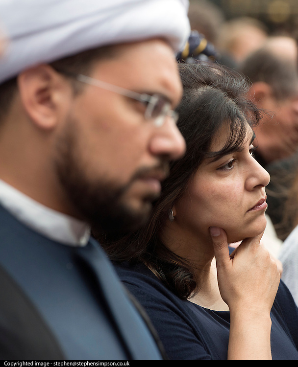 © Licensed to London News Pictures. 03/09/2014. London, UK. Baroness Sayeeda Warsi attend the vigil. The Archbishop of Canterbury, Justin Welby, attends an inter-faith vigil outside Westminster Abbey. Other speakers include Imam Ibrahim Mogra of the Muslim Council of Britain, Rabbi Laura Janner-Klausner of the Movement for Reform Judaism and Ayatollah Dr Sayyid Fadhil H Al-Milani.. Photo credit : Stephen Simpson/LNP