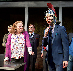Clarion <br /> by Mark Jagasia <br /> directed by Mehmet Ergen <br /> at the Arcola Theatre, London, Great Britain <br /> press photocall <br /> 16th April 2015 <br /> <br /> Clare Higgins as Columnist Verity Stokes<br /> Greg Hicks as Morris Honeyspoon  <br /> <br /> Photograph by Elliott Franks <br /> Image licensed to Elliott Franks Photography Services