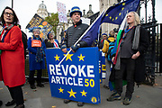 Anti Brexit pro European Union protester Steve Bray demonstrating in Westminster on 30th October 2019 in London, England, United Kingdom. Brexit is the scheduled withdrawal of the United Kingdom from the European Union. Following a June 2016 referendum, in which 51.9% of participating voters voted to leave. As a General Election is passed through the Commons, Brexit protests intensify outside Parliament the day before the original date of leaving on the 31st.