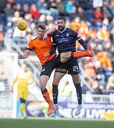 Dundee United's Paul Watson and Falkirk's Marcus Haber. half time : Falkirk 0 v o Dundee United, Scottish Championship game played 22/9/2018 at The Falkirk Stadium.