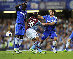 "Aston Villa's Fabian Delph battles for the ball with Chelsea's Frank Lampard and Chelsea's Ramires  - Photo mandatory by-line: Joe Meredith/JMP - Tel: Mobile: 07966 386802 21/08/2013 - SPORT - FOOTBALL - Stamford Bridge - London - Chelsea V Aston Villa - Barclays Premier League - EDITORIAL USE ONLY. No use with unauthorised audio, video, data, fixture lists, club/league logos or ""live"" services. Online in-match use limited to 45 images, no video emulation. No use in betting, games or single club/league/player publications"
