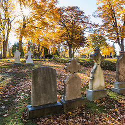 A fall morning at the Evergreen Cemetery in Portland, Maine.