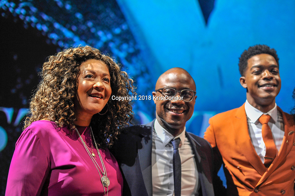 """WASHINGTON, DC - OCTOBER 27: Moderator Michele Norris speaks with director/screenwriter Barry Jenkins,  Stephan James, KiKi Layne, and Regina Hall during a Q&A during the closing night screening of """"IF BEALE STREET COULD TALK"""" at the inaugural Smithsonian African American Film Festival 2018 at National Air and Space Museum in Washington DC on October 27th, 2018. (Photo by Kris Connor/Annapurna Pictures)"""