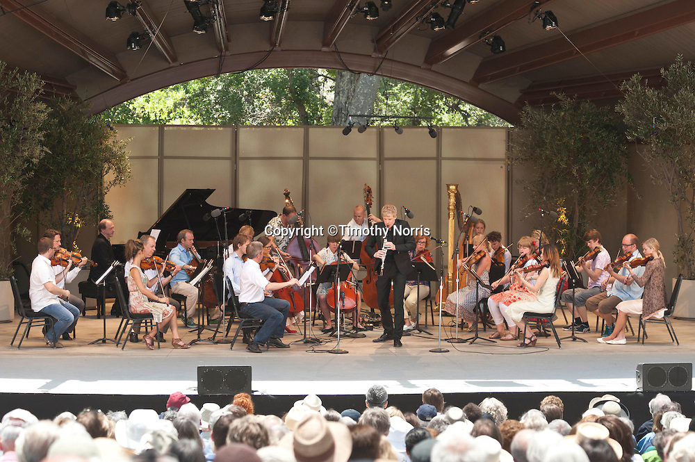 Martin Fröst performs Aaron Copeland's Concerto for Clarinet, Strings, Harp and Piano with the Norwegian Chamber Orchestra at the 66th Ojai Music Festival on June 10, 2012 in Ojai, California.