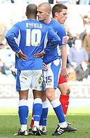 Photo: Alex Pelaez.<br />Millwall v Cheltenham Town. Coca Cola League 1. 03/03/2007.<br />Byfield and Brighto of Millwall discuss tactics