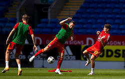 CARDIFF, WALES - Sunday, September 6, 2020: Wales' Connor Roberts (L) and Daniel James during the pre-match warm-up before the UEFA Nations League Group Stage League B Group 4 match between Wales and Bulgaria at the Cardiff City Stadium. (Pic by David Rawcliffe/Propaganda)