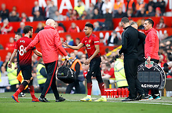 Manchester United's Juan Mata (left) is substituted for Jesse Lingard after picking up an injury during the Premier League match at Old Trafford, Manchester.