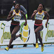 Christine Ohuruogu, Great Britain, (left) and Novlene Williams-Mills, Jamaica,  in action during the Women's 400m at the Diamond League Adidas Grand Prix at Icahn Stadium, Randall's Island, Manhattan, New York, USA. 25th May 2013. Photo Tim Clayton