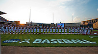 Members of Texas A&M baseball stand at attention during the National Anthem before the start of a NCAA college baseball Super Regional tournament game against TCU, Saturday, June 11, 2016, in College Station, Texas. Texas A&M won 7-1 to even the series at 1-1. (AP Photo/Sam Craft)