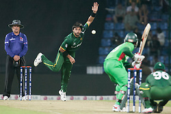 © Licensed to London News Pictures. 25/09/2012. Pakistani bowler Shahid Afridi bowls to Bangladesh batsmen Mushfiqur Rahim during the T20 Cricket World T20 match between Pakistan Vs Bangladesh at the Pallekele International Stadium Cricket Stadium, Pallekele. Photo credit : Asanka Brendon Ratnayake/LNP