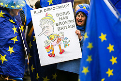 "© Licensed to London News Pictures. 30/01/2020. London, UK. A Pro-European supporter hold a ""R.I.P DEMOCRACY - BORIS HAS BROKEN BRITAIN"" sign outside Houses of Parliament on the day before Brexit Day.  The UK will leave the European Union at 11pm on the 31 January 2020. Thereafter will be a transition period until the end of 2020, while the UK and EU negotiate additional arrangements. Photo credit: Dinendra Haria/LNP"