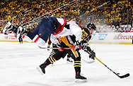 PITTSBURGH, PA - MAY 08:  Conor Sheary #43 of the Pittsburgh Penguins checks Marcus Johansson #90 of the Washington Capitals in Game Six of the Eastern Conference Second Round during the 2017 NHL Stanley Cup Playoffs at PPG Paints Arena on May 8, 2017 in Pittsburgh, Pennsylvania.  (Photo by Joe Sargent/NHLI via Getty Images) *** Local Caption ***